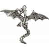 Pendant large Dragon With Spread Wings Antique Silver